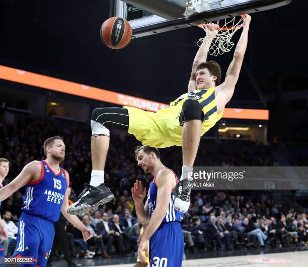 Jan Vesely #24 of Fenerbahce Dogus Istanbul in action during the 2017/2018 Turkish Airlines EuroLeague Regular Season Round 19 game between Anadolu...