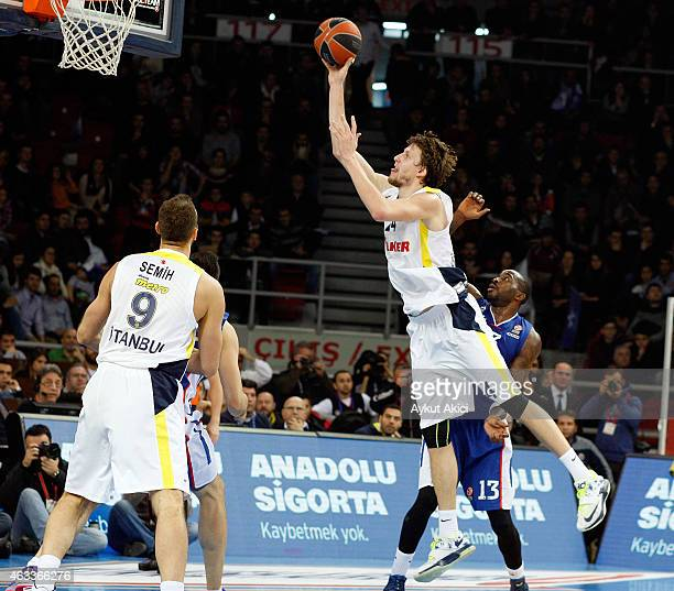 Jan Vesely #24 of Fenerbahce Ulker Istanbul in action during the Turkish Airlines Euroleague Basketball Top 16 Date 7 game between Anadolu Efes...