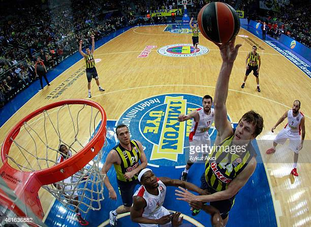Jan Vesely #24 of Fenerbahce Ulker Istanbul in action during the Euroleague Basketball Top 16 Date 3 game between Turkish Airlines Euroleague Top 16...