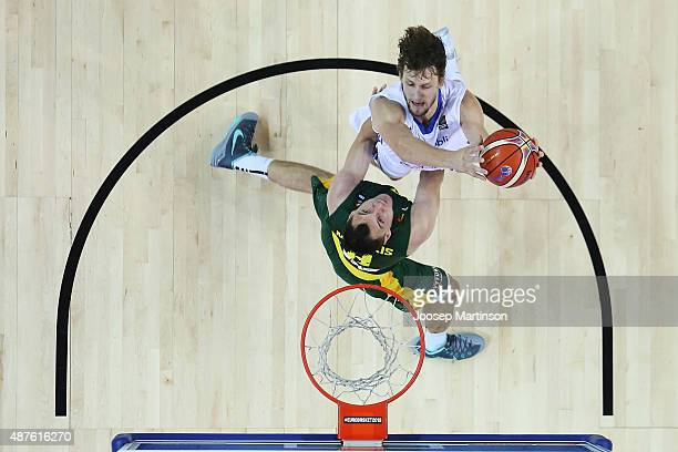 Jan Vesely of Czech Republic goes for the basket against Jonas Maciulis of Lithuania during the FIBA EuroBasket 2015 Group D basketball match between...