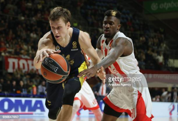 Jan Vesely of Fenerbahce Dogus in action against Dylan Ennis of Crvena Zvezda during the Turkish Airlines Euroleague week 28 basketball match between...