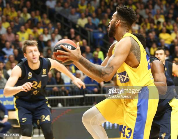 Jan Vesely of Fenerbahce Dogus in action against Jonah Bolden of Maccabi Fox Tel Aviv during Turkish Airlines Euroleague match between Maccabi Fox...