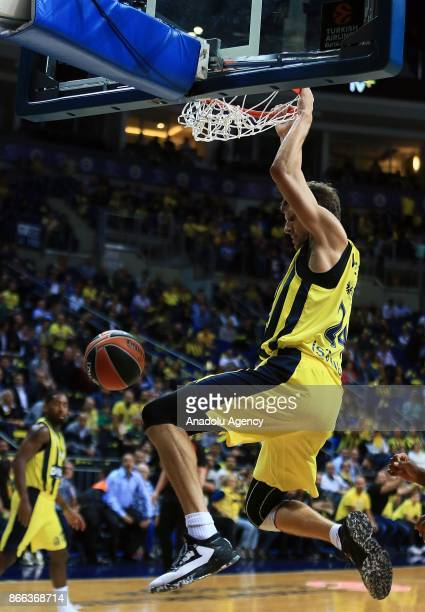 Jan Vesely of Fenerbahce Dogus slam dunks during a Turkish Airlines Euroleague basketball match between Fenerbahce Dogus and Anadolu Efes at Ulker...