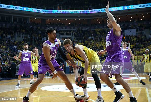 Jan Vesely of Fenerbahce in action against Maciulis Jonas and Ayon Gustavo of Real Madrid during the Turkish Airlines Euroleague basketball match...