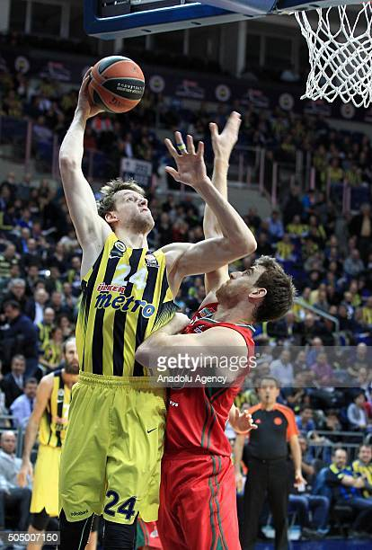 Jan Vesely of Fenerbahce in an action against his opponents during the Turkish Airlines Euroleague Top 16 match between Fenerbahce and Lokomotiv...