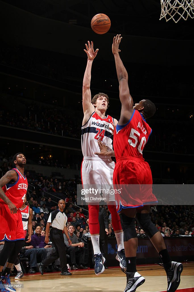 Jan Vesely #24 of the Washington Wizards puts up a shot against the Philadelphia 76ers at the Verizon Center on March 3, 2013 in Washington, DC.