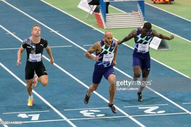 Jan Volko, Marcell Jacobs, Mouhamadou Fall compete during men's 60m during the World Athletics Indoor Tour at Arena Stade Couvert on February 9, 2021...