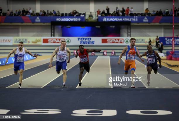 Jan Volko of Slovakia on his way to winning the Mens 60m Final during the European Athletics Indoor Championships Day Two at the Emirates Arena on...