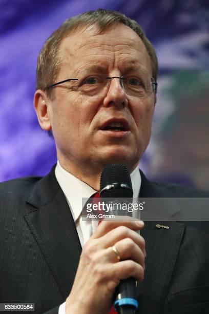 Jan Woerner ESA Director General speaks during a press conference to introduce Matthias Maurer the newest astronaut of the European Space Agency at...