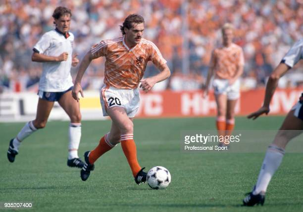 Jan Wouters of The Netherlands in action during the UEFA Euro 1988 group match between England and The Netherlands at the Rheinstadion on June 15...