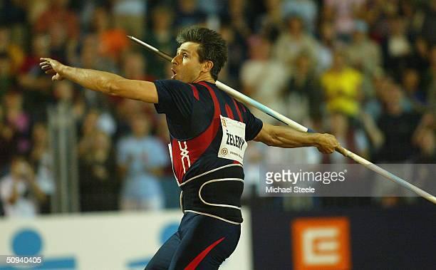 Jan Zelezny of Czech Republic competes during the men's Javelin at the IAAF Golden Spike meet in Ostrava Czech Republic