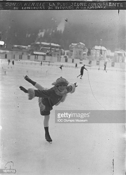 Sonja Henie of Norway in action during the Figure Skating event at the 1924 Winter Olympic Games in Chamonix France Henie finished in eighth place...