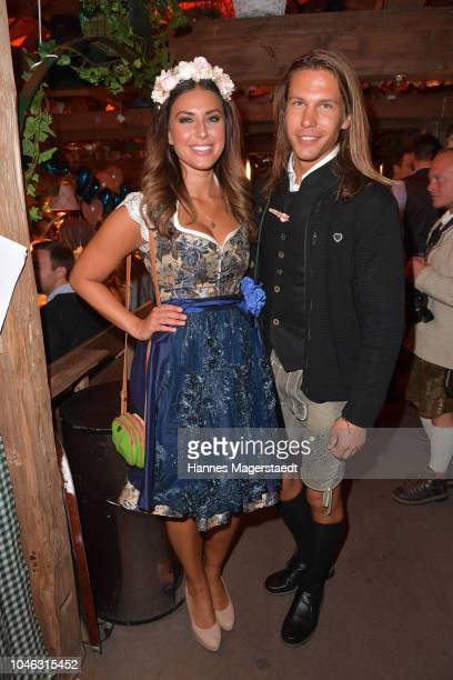 Jana Azizi and Patrick Madany during the Oktoberfest 2018 at Kaeferschaenke tent at Theresienwiese on October 5 2018 in Munich Germany