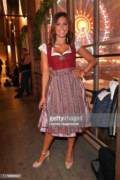 Jana Azizi poses during the Fernsehen mit Herz Wiesn event during the Oktoberfest 2019 at Kufflers Wine Tent at Theresienwiese on September 24 2019...