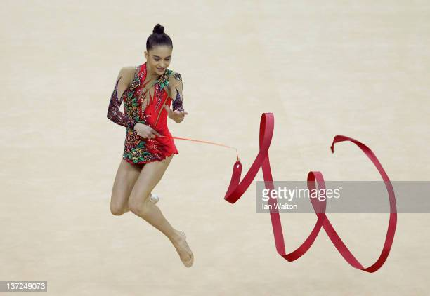Jana BerezkoMarggrander of Germany in action in the Individual AllAround during the FIG Rhythmic Gymnastics Olympic Qualification at North Greenwich...