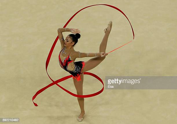 Jana BerezkoMarggrander of Germany performs her ribbon routine during the Rhythmic Gymnastics Individual AllAround on August 19 2016 at Rio Olympic...
