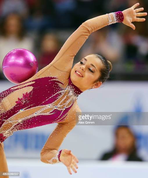 Jana BerezkoMarggrander of Germany performs with the ball during the individual competition of the GAZPROM World Cup Rhythmic Gymnastics at Porsche...