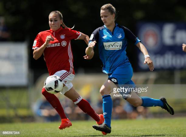 Jana Beuschlein of Hoffenheim II in action during the match between 1899 Hoffenheim II and FCB Muenchen II at St Leon football ground on May 21 2017...