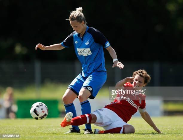 Jana Beuschlein of Hoffenheim II is challenged by Anja Pfluger of FC Bayern Munich II during the match between 1899 Hoffenheim II and FCB Muenchen II...