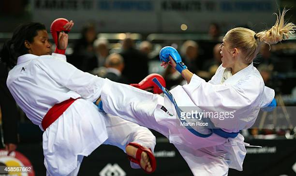 Jana Bitsch of Germany fights against her Dominican Republic opponent during the women's Kumite team competition of the 22nd Karate World...