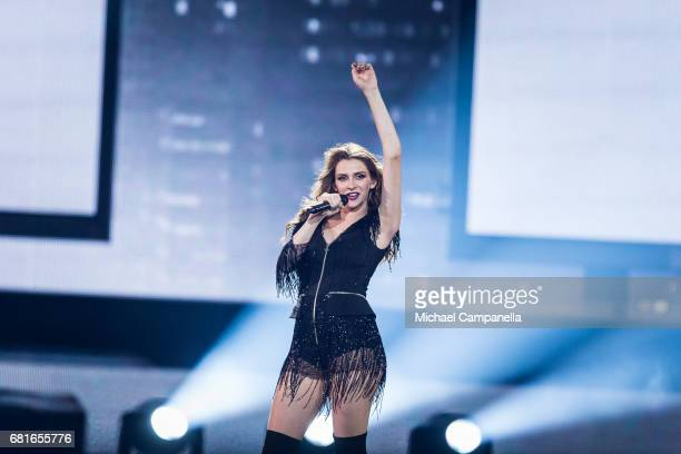 Jana Burceska representing Macedonia performs the song 'Dance Alone' during the rehearsal for the second semi final of the 62nd Eurovision Song...