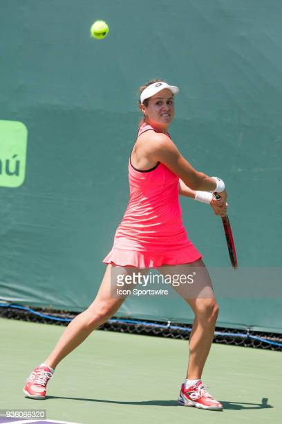 Jana Cepelova competes during the qualifying round of the 2018 Miami Open on March 20 at Tennis Center at Crandon Park in Key Biscayne FL