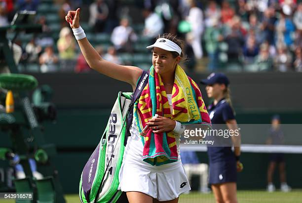 Jana Cepelova of Slovakia celebrates victory during the Ladies Singles second round match against Gabrine Muguruza of Spain on day four of the...