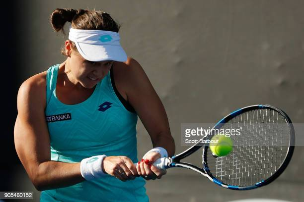 Jana Cepelova of Slovakia plays a backhand in her first round match against Lauren Davis of the United States on day two of the 2018 Australian Open...