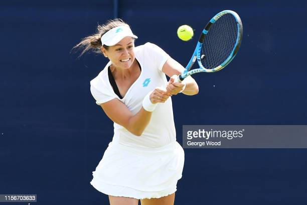 Jana Čepelová of Slovakia in action during her match against Valeria Savinykh of Russia during the Ilkley Trophy Day Two at Ilkley Lawn Tennis Squash...