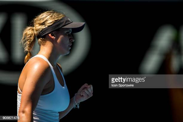 Jana Fett of Croatia celebrates in her Second Round match during the 2018 Australian Open on January 17 at Melbourne Park Tennis Centre in Melbourne...