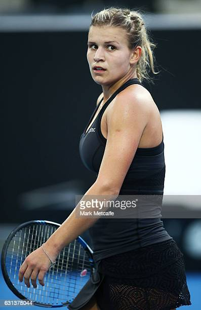 Jana Fett of Croatia celebrates winning match point in her second round match against Lizette Cabrera of Australia during day one of the 2017 Hobart...