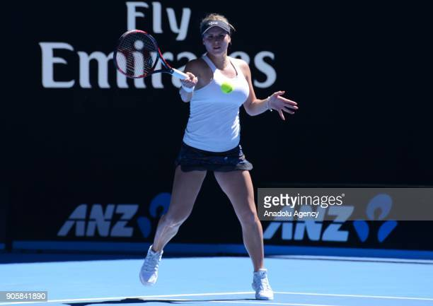 Jana Fett of Croatia competes with Caroline Wozniacki of Denmark on day three of the 2018 Australian Open at Melbourne Park on January 17 2018 in...