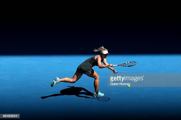 Jana Fett of Croatia plays a backhand in her Junior Girls' Singles Final against Elizaveta Kulichkova of Russia during day 13 of the 2014 Australian...