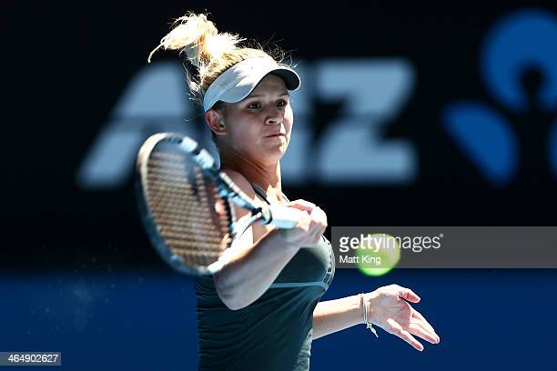Jana Fett of Croatia plays a forehand in her Junior Girls' Singles Final against Elizaveta Kulichkova of Russia during day 13 of the 2014 Australian...
