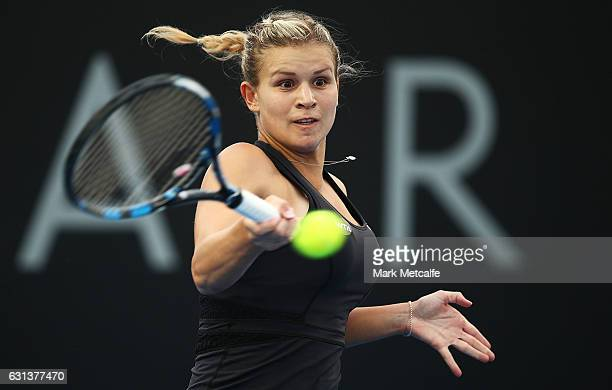 Jana Fett of Croatia plays a forehand in her second round match against Lizette Cabrera of Australia during day one of the 2017 Hobart International...