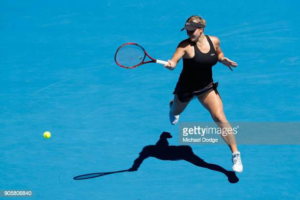 Jana Fett of Croatia plays a forehand in her second round match against Caroline Wozniacki of Denmark on day three of the 2018 Australian Open at...