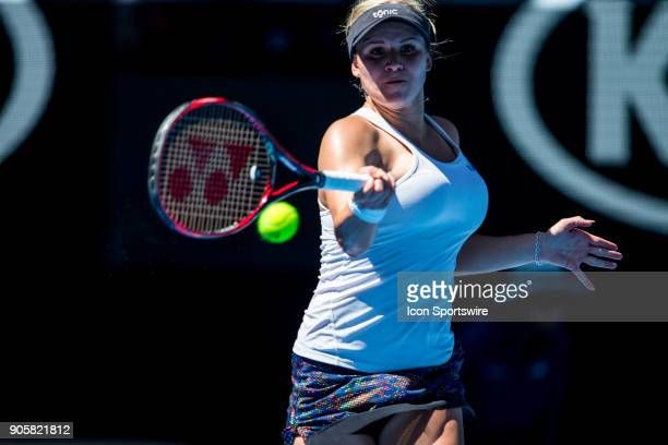 Jana Fett of Croatia plays a shot in her Second Round match during the 2018 Australian Open on January 17 at Melbourne Park Tennis Centre in...