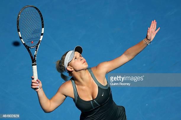 Jana Fett of Croatia serves in her Junior Girls' Singles Final against Elizaveta Kulichkova of Russia during day 13 of the 2014 Australian Open at...