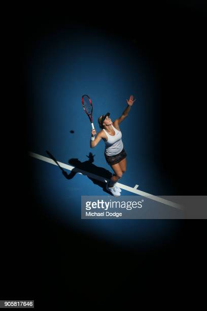 Jana Fett of Croatia serves in her second round match against Caroline Wozniacki of Denmark on day three of the 2018 Australian Open at Melbourne...