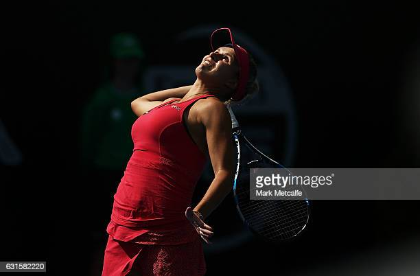 Jana Fett of Croatia serves in her semi final match against Elise Mertens of Belgium during the 2017 Hobart International at Domain Tennis Centre on...