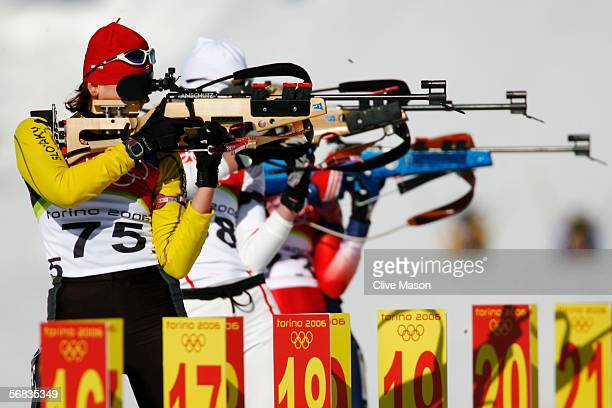 Jana Gerekova of Slovakia shoots during the Womens Biathlon 15km Individual Final on Day 3 of the 2006 Turin Winter Olympic Games on February 13 2006...