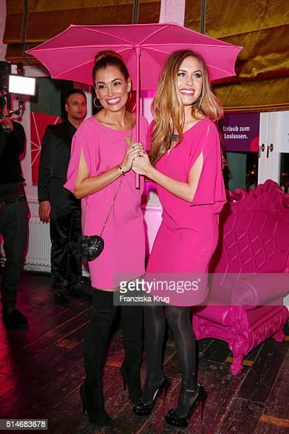Jana Ina Zarrella and Alena Gerber attend the JT Touristik Celebrates ITB Party on March 10 2016 in Berlin Germany