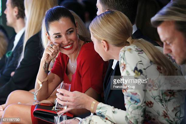 Jana Ina Zarrella and Giulia Siegel attend the Fashion Charity Event 2015 in favor of the 'RTL Wir helfen Kindern' foundation at Unionhalle on April...