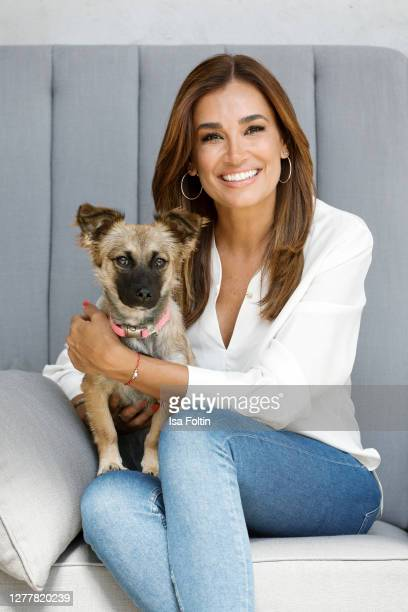 """Jana Ina Zarrella and her dog """"Cici"""" at the """"Tierisch engagiert"""" Animal Charity Campaign at animal shelter Zollstock on September 29, 2020 in..."""