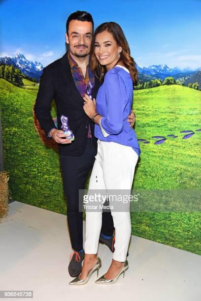 Jana Ina Zarrella and her husband Giovanni Zarrella during the Milka Osterbrunch at Studio Lassen on March 22, 2018 in Hamburg, Germany.