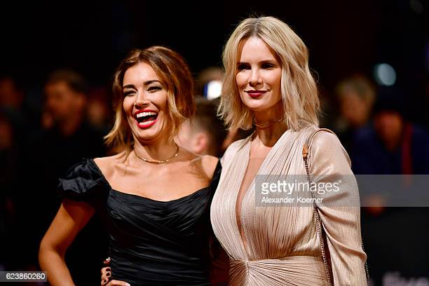 Jana Ina Zarrella and Monica Ivancan arrive at the Bambi Awards 2016 at Stage Theater on November 17 2016 in Berlin Germany