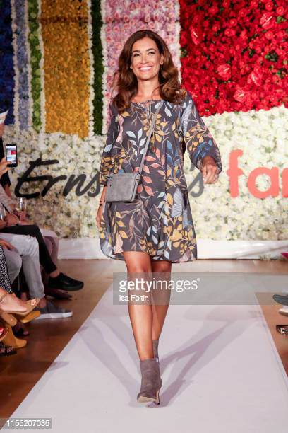 Jana Ina Zarrella walks the runway during the Ernsting's family Fashion Show 2019 on July 11, 2019 in Hamburg, Germany.