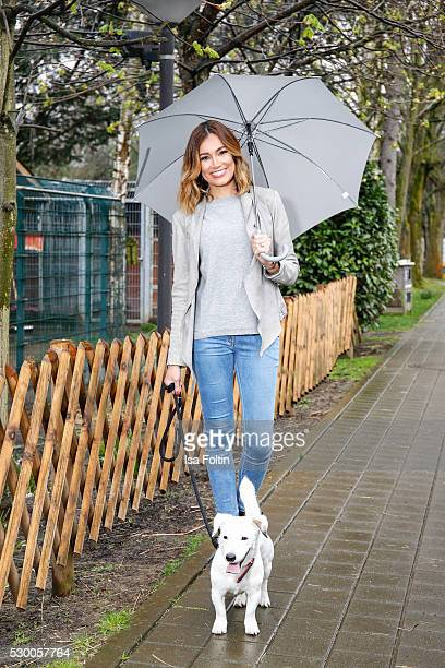 Jana Ina Zarrella walks with a dog from the Konrad Adenauer shelter and supports therewith the 'We Are Better With Pets' campaign on April 05 2016 in...