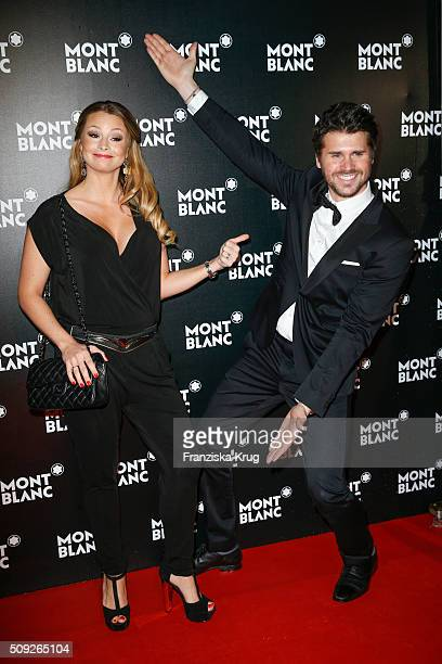 Jana Julia Kilka and Thore Schoelermann attend the Montblanc House Opening on February 09 2016 in Hamburg Germany