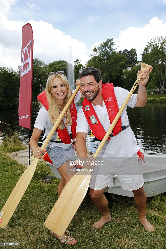 Jana Julie Kilka and Daniel Sellier attend the Charity Event Benefitting Flood Victims on July 20, 2013 in Grafenau, Germany.